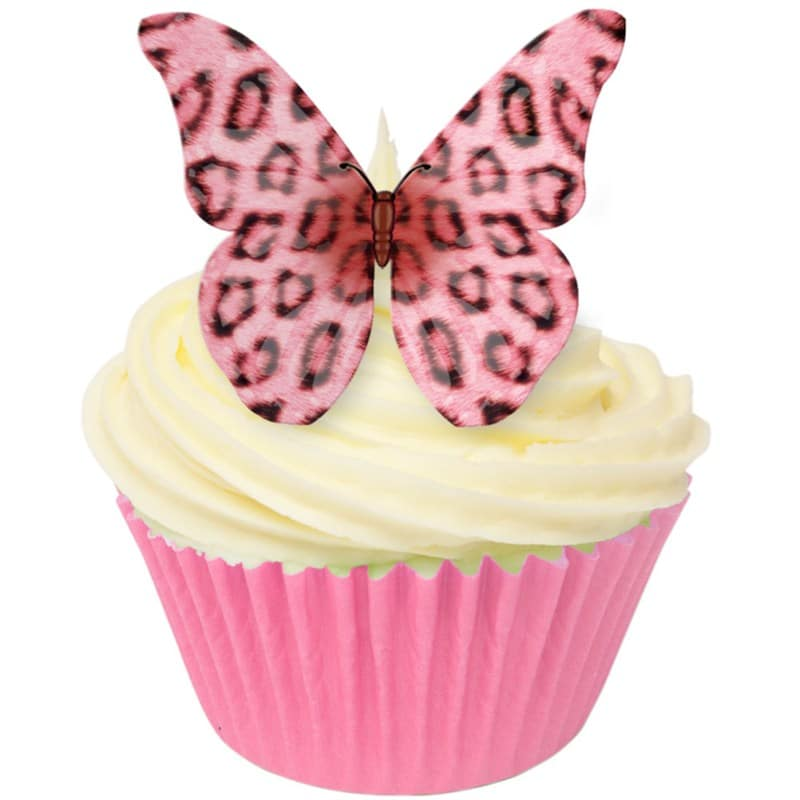 Edible wafer pink leopard print butterfly decorations for Animal print edible cake decoration