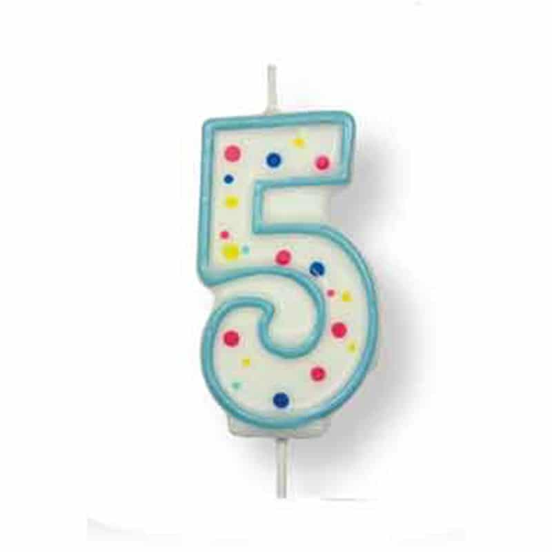 Number 5 Large Blue Numeral Candle
