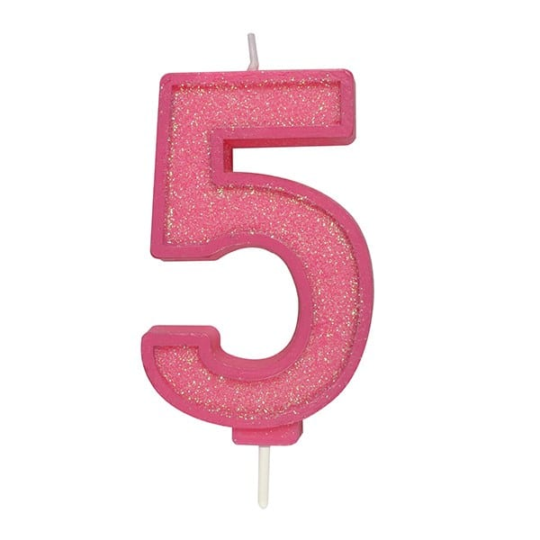 Pink Sparkle Numeral Candle Number 5